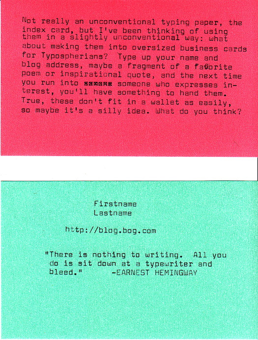 Typewriter Business Cards