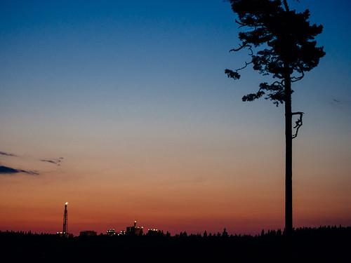 summer sky cloud tree nature silhouette pine night finland evening europe industrial factory dusk olympus porvoo omd oilrefinery em5 olympus45mmf18 sjöldvik