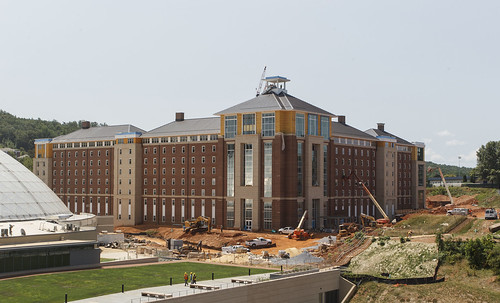 Liberty University views of construction from the Jerry Falwell Library balconies