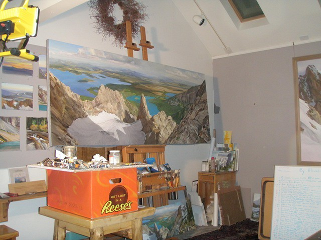 """Here is a studio shot of me working on the larger version of """"CMC Route, Mt. Moran"""". This is 'before grasses shot.'"""