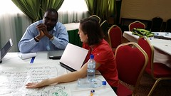 Fadiga Mohamoudou and Isabelle Baltenweck (ILRI) at the Burkina Faso small ruminants value chain strategy and implementation planning workshop, 14-15 July 2014