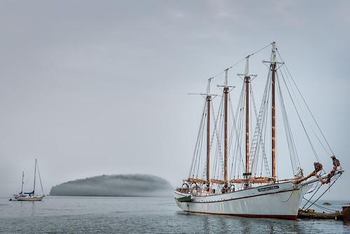 ocean sky usa mist reflection water fog sailboat landscape bay harbor boat dock ship unitedstates maine barharbor edrosack