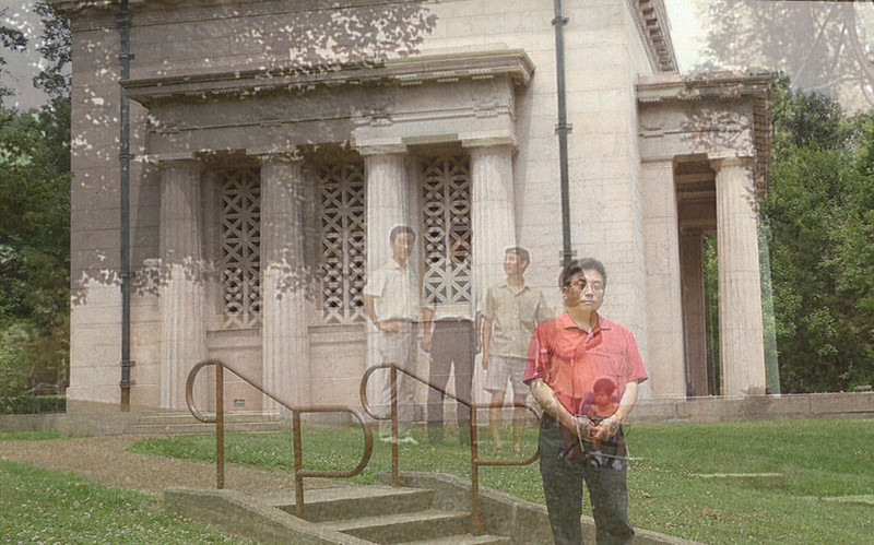 Composite of two shots taken of the left side of the Lincoln Birthplace Memorial, me and my family in 1970 and with just me in 2014