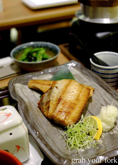 Shima hokke shio-yaki salt-grilled Arka mackerel teishoku at Yayoi, Sydney