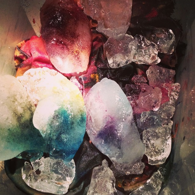 More ice dyeing with big chunks.