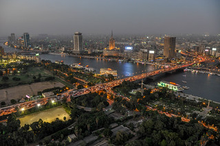 Downtown cairo - The 15 May and 6 October bridges connect the island of Zamalek separated by the Nile river