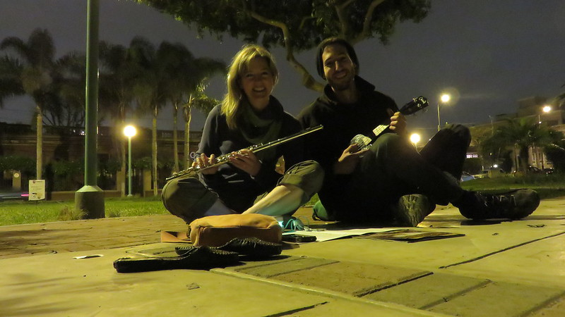 Stav from Israel and I playing music above the cliffs of Lima.