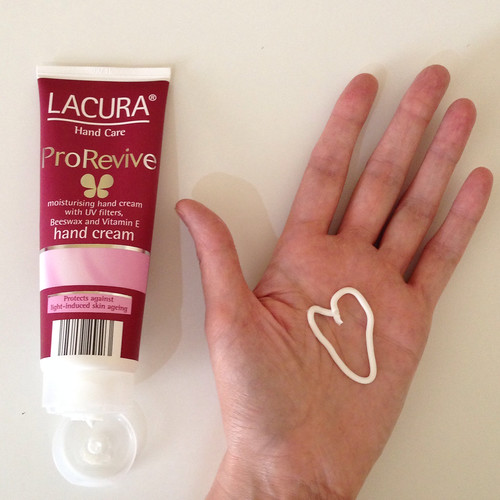 Lacura ProRevive hand cream. Aldi. Beeswax. Vitamin E. UV filters.