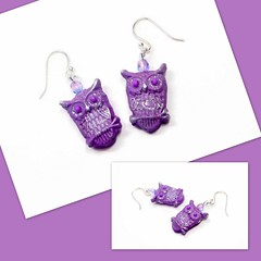 Radiant Orchid Owl Earrings