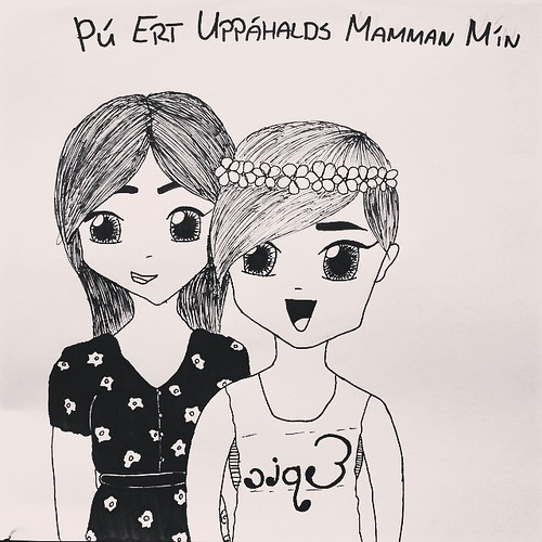 "Drawing of me and Sumarrós, from Sumarrós. It says ""You are my favorite mom"" ❤️"