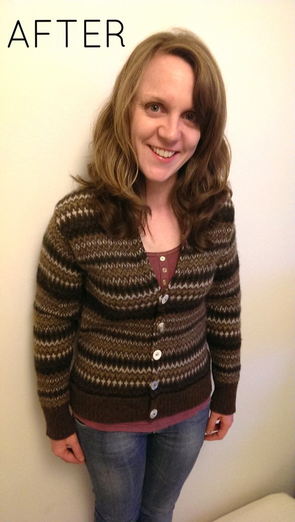 After refashioned men's fairisle sweater by Craft & Thrift
