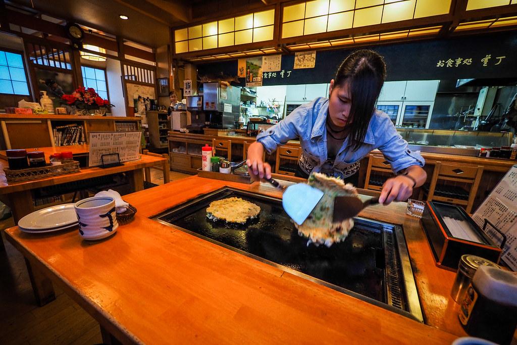Okonomiyaki for dinner in Nemuro City, Hokkaido, Japan