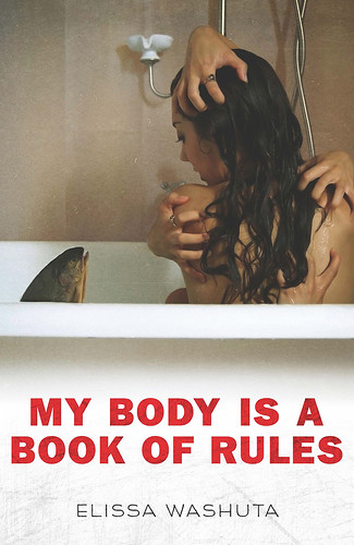 The cover of My Body Is a Book of Rules. A woman with her back to us sits in a tub, looking at a fish head. Disembodied human hands grab at her from different angles.