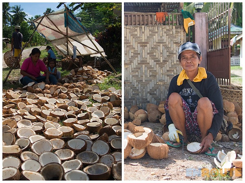 Families help out to process as many coconuts they can for a day