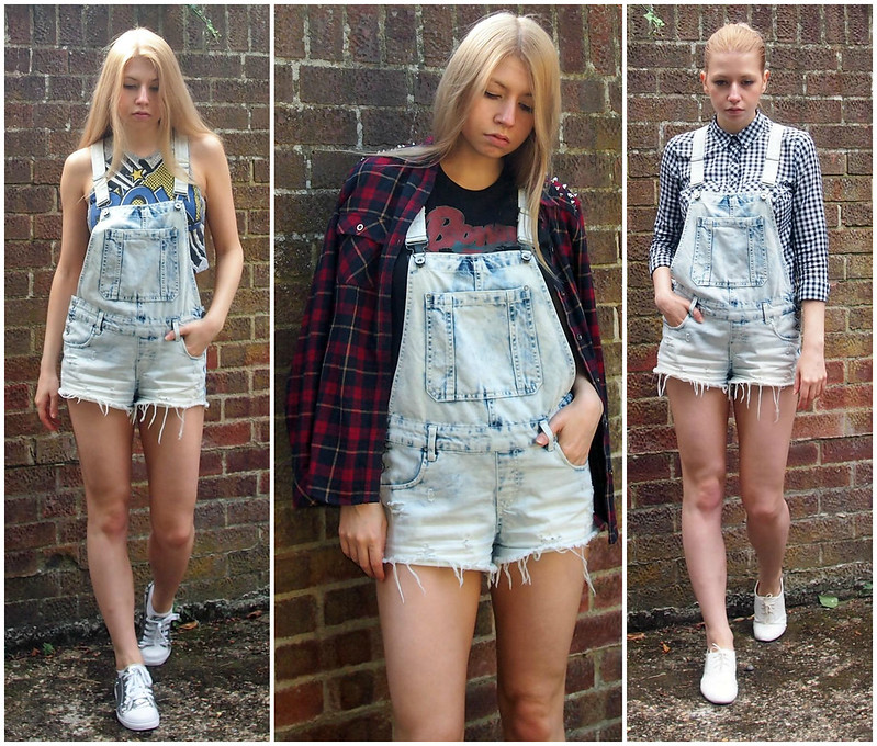 Acid Wash Short Denim Dungarees, Overalls, Primark, How to Wear, Styling Inspiration, Outfit Ideas, SS14, Crop Top, Cartoon Print, Tartan Shirt, Plaid, Grunge, '90s, Gingham Shirt, New Look, Sam Muses, UK Fashion Blog, London Style Blogger