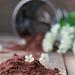 bird cherry flour on wooden table