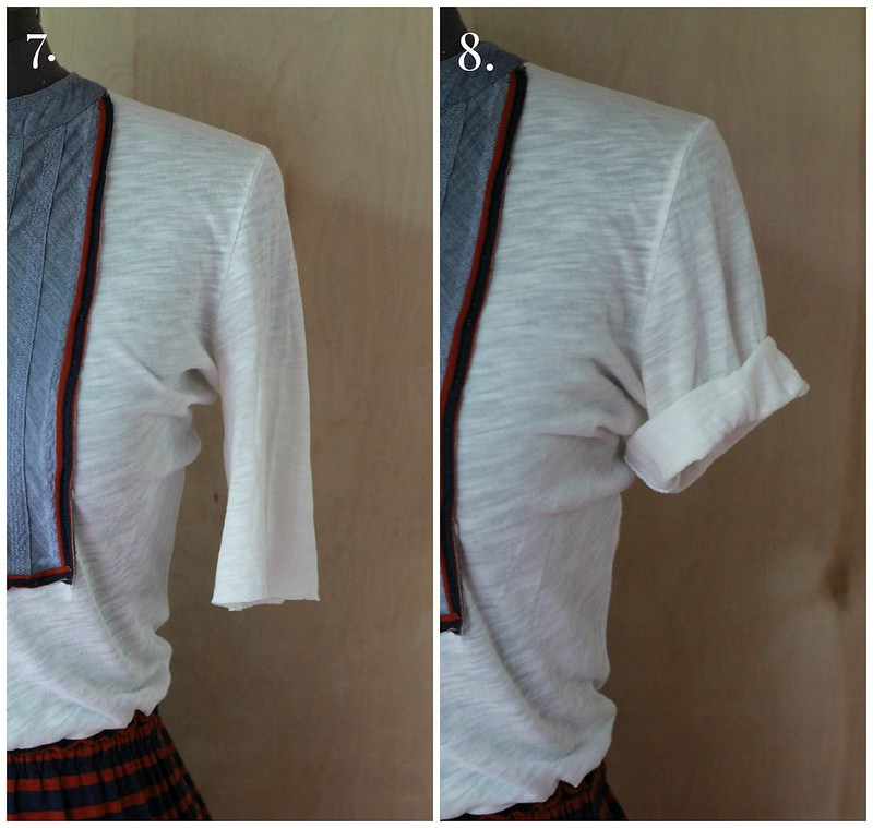 how to shorten t-shirt sleeves into rolled sleeves via Kristina J blog