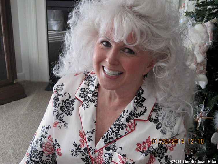 Mom 70 beautiful woman white hair silky pajams big smile 2014-02-06