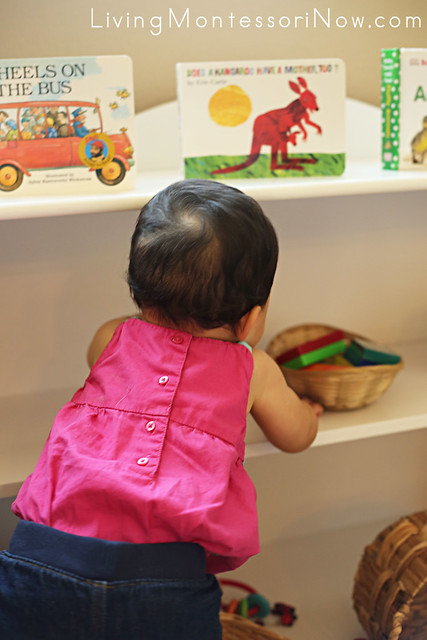 Exploring Montessori Shelves at 8 Months