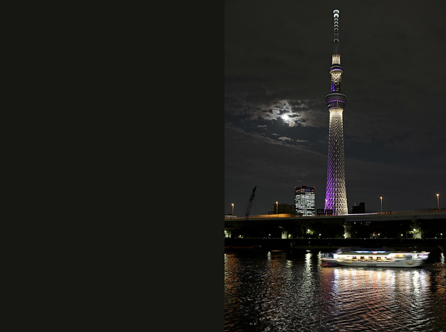 sky tree, the moon, the river, and a boat