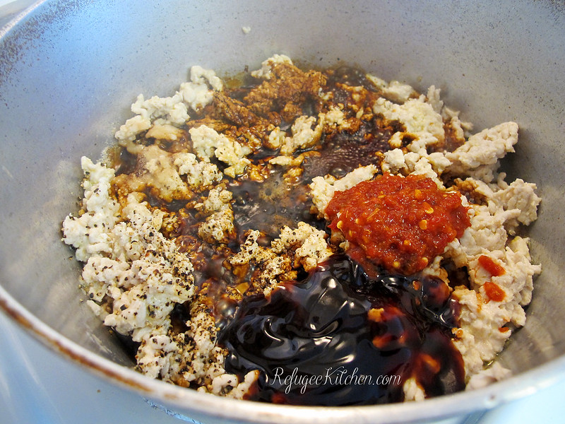 Cha Troap - Cambodian Stirfried Eggplants with Turkey and Snow Peas