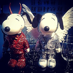 snoopy and belle in fashion angle and devil