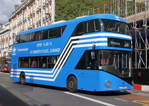 Blue Adidas overall advert New Routemaster