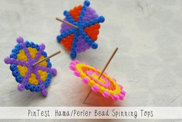 diy pinterest test spinning tops from hama perler beads