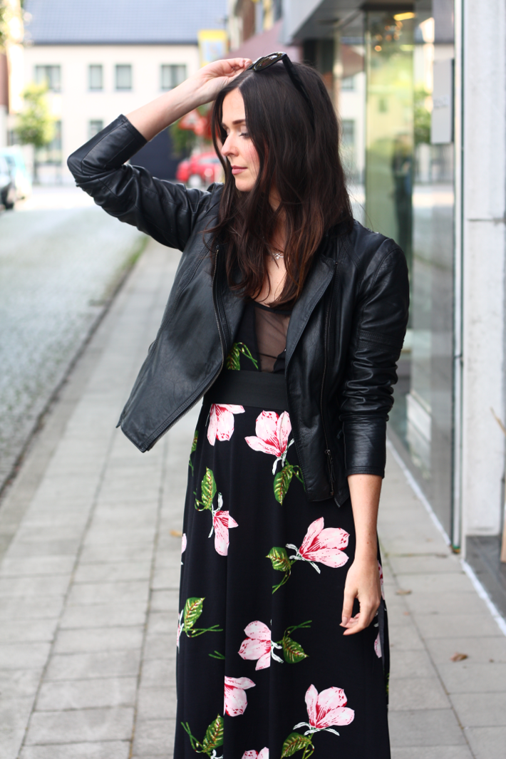 Floral Dress, Leather Jacket and Gold Wedges