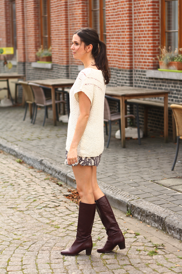 outfit fall light sweater shorts selected knee high boots