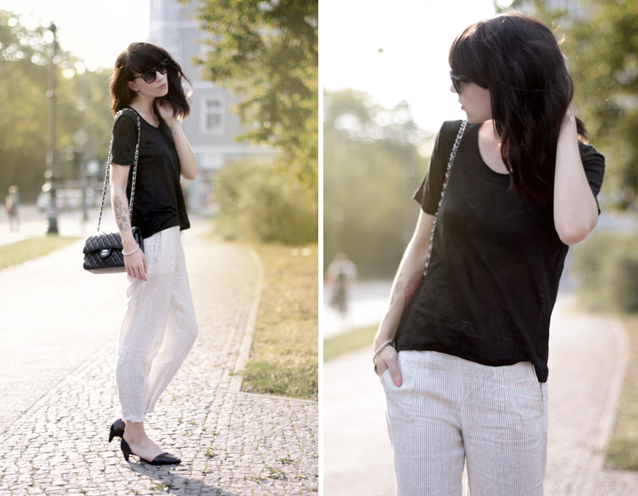 Frontrowshop striped pants black shirt sheer chanel bag Ricarda Schernus CATS & DOGS 6