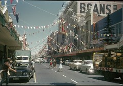 Murray Street decorated for Empire Games, 1962