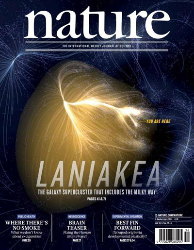 "Cover of ""Nature"" showing the visualization of ""Laniakea"""