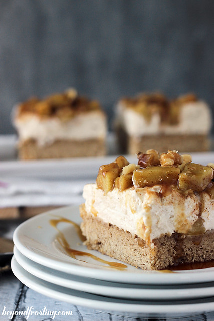 Apple Pie Cheesecake Bar side view on a plate