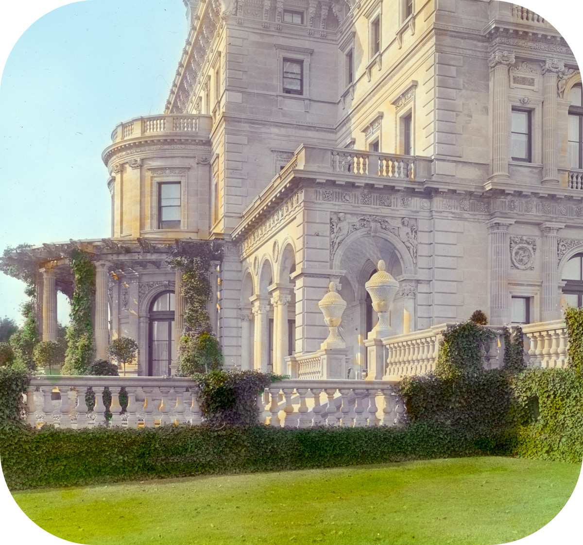 'The Breakers,' Cornelius Vanderbilt II house, 44 Ochre Point Avenue, Newport, Rhode Island. View of terrace and loggia