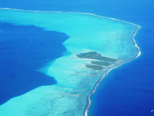 Lagoon & coral reef from the air - French Polynesia