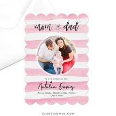 This is one of my latest designs for @greenvelope :baby:Mum and dad to a gorgeous little baby #cards #baby #announcement #birthannouncement