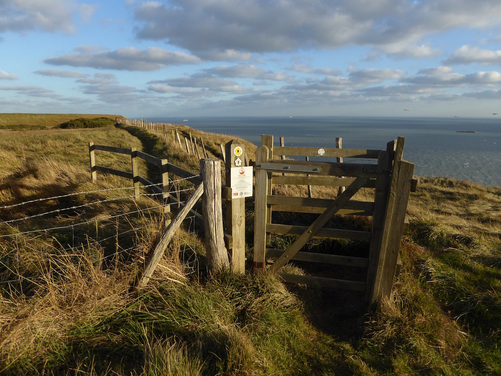 Gate on cliffs Folkestone to Dover walk