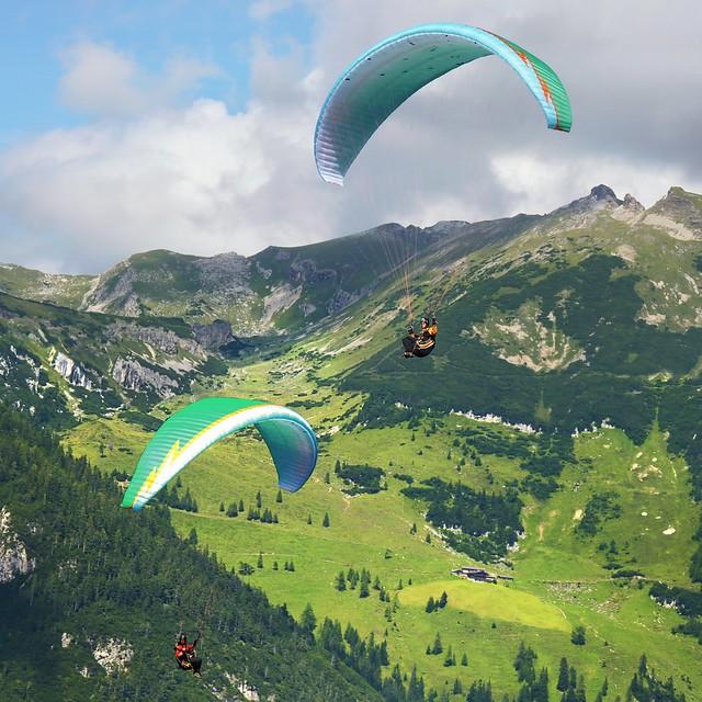 Two aeronautics flying over the Alpenpark Karwendel
