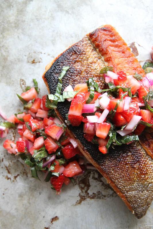Crispy Salmon With Strawberry Basil Salsa Heather Christo