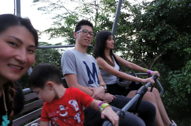 Us on the Skyride in Sentosa, with Estella, so is really freaked out with the height.