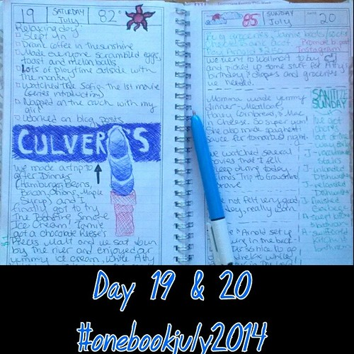 #onebookjuly2014 day 19 & 20: sketch of ice cream from our fav place on the 19th, and cleaning list for the 20th