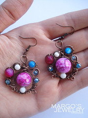 handmade-earrings-copper-wire-natural-stone-pearl-agate-glass-beads-1