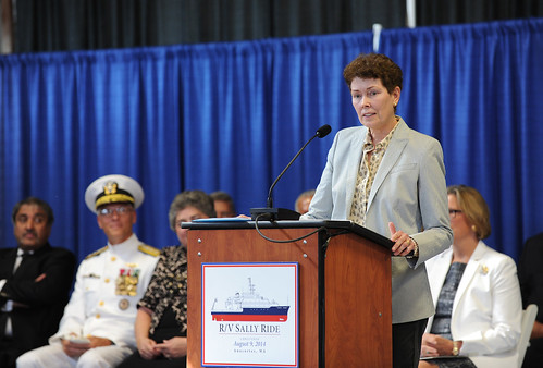 Ship's sponsor, Dr. Tam O'Shaughnessy, co-founder, chair of the board of directors and chief executive officer of Sally Ride Science, delivers remarks during the christening ceremony. The whole time I'm shooting this I'm thinking about the one shot that truly counts, the bottle break.