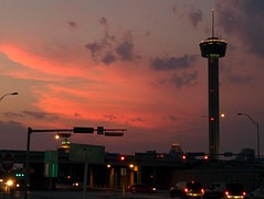 Cool sunset tonight behind the Tower of the Americas