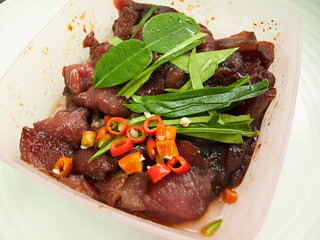 056  Marinated pork with kaffir leaves  and chilli