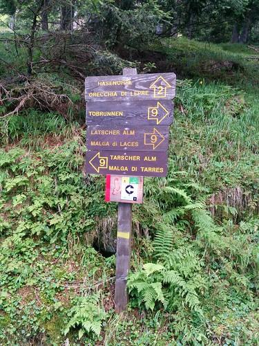 Markierung Tarscher Alm, beim Abstieg zur Latscher Alm
