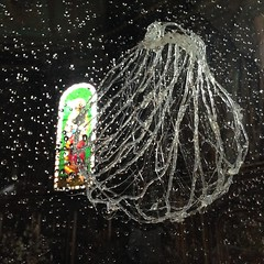 Coquille, vitrail et constellation de gouttes