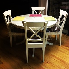 My kitchen table and chairs. So stinking excited and glad that I had the time to build them when we came home earlier today. Grandpa Stone would be proud of his Norwegian granddaughter-in-law and her ability to make Swedish furniture. #IKEA #dining #kitch
