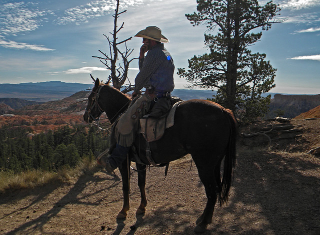 Cowboy on his Cell Phone in Bryce Canyon National Park